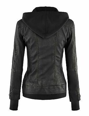 Lock and Hooded Leather Biker XS~2XL
