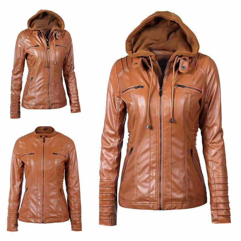 Women's Slim Leather Jacket Removable Zipper Tops