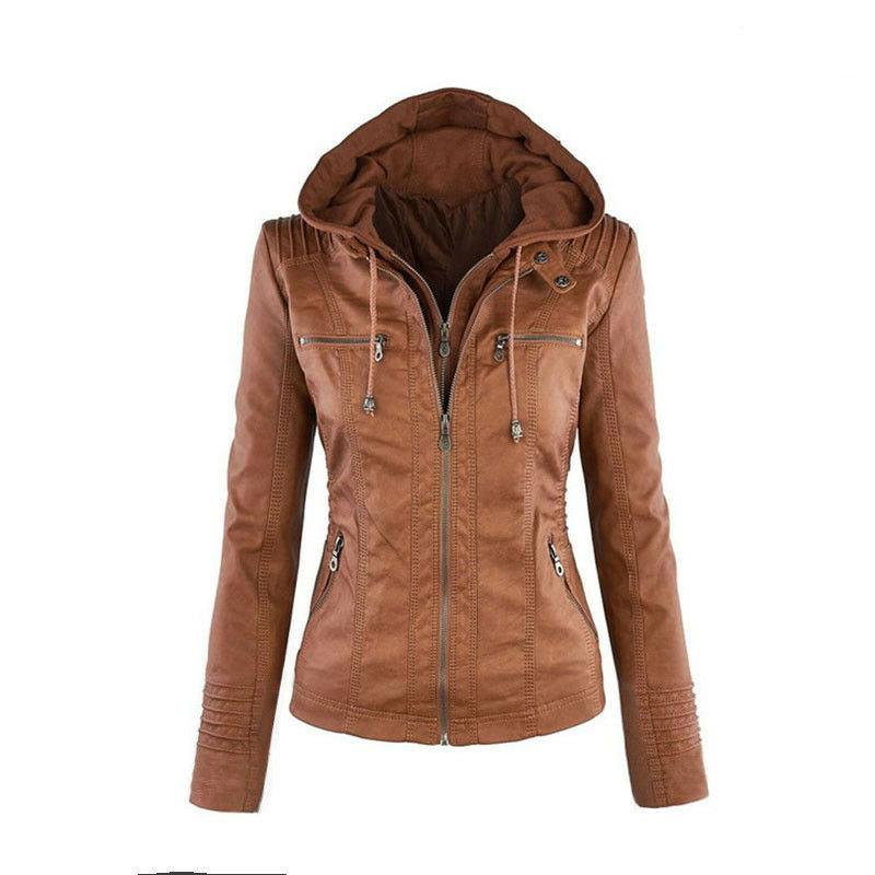 Women's Hooded Slim Leather Jacket Outwear Removable