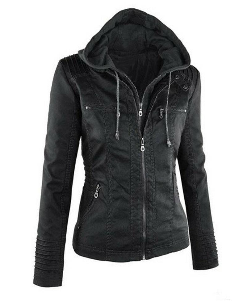 Women's Leather Jacket Removable