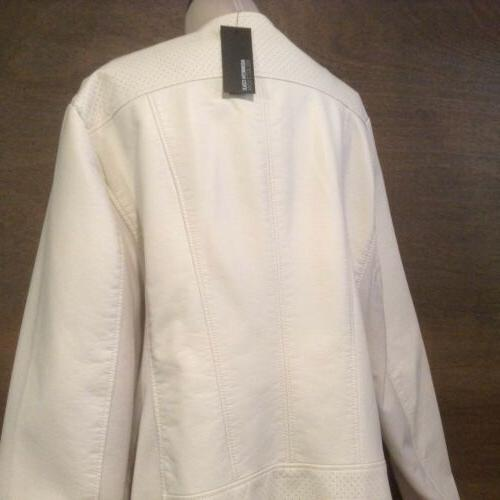 Kenneth Ivory faux Leather zip Jacket SIZE NEW
