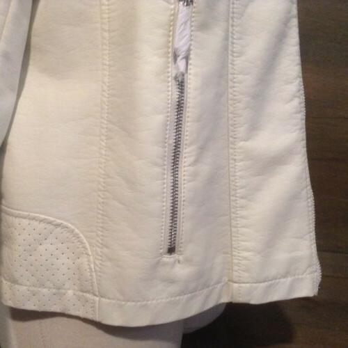Kenneth Cole Ivory Leather zip Jacket XXL NEW