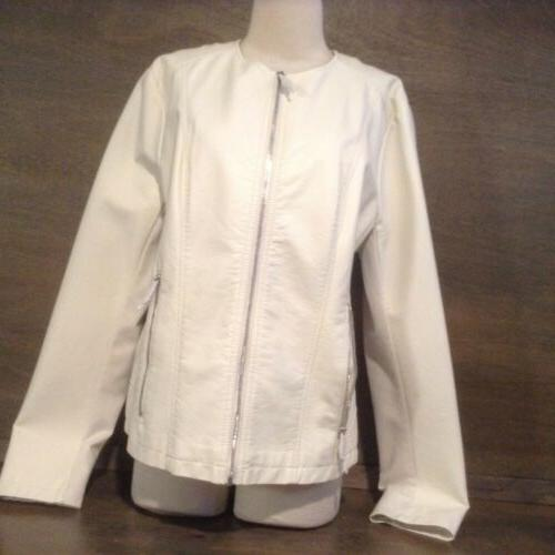 women s ivory faux leather full zip