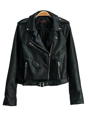 Women's Fashionable Leather Biker with Pockets