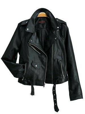 Women's Juniors Fashionable Faux Leather Moto Jacket with Pockets