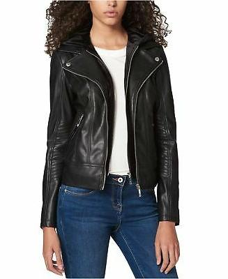 women s layered look faux leather jacket