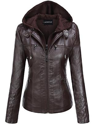 Tanming Women's Removable Hooded Faux Leather Jackets - Brow