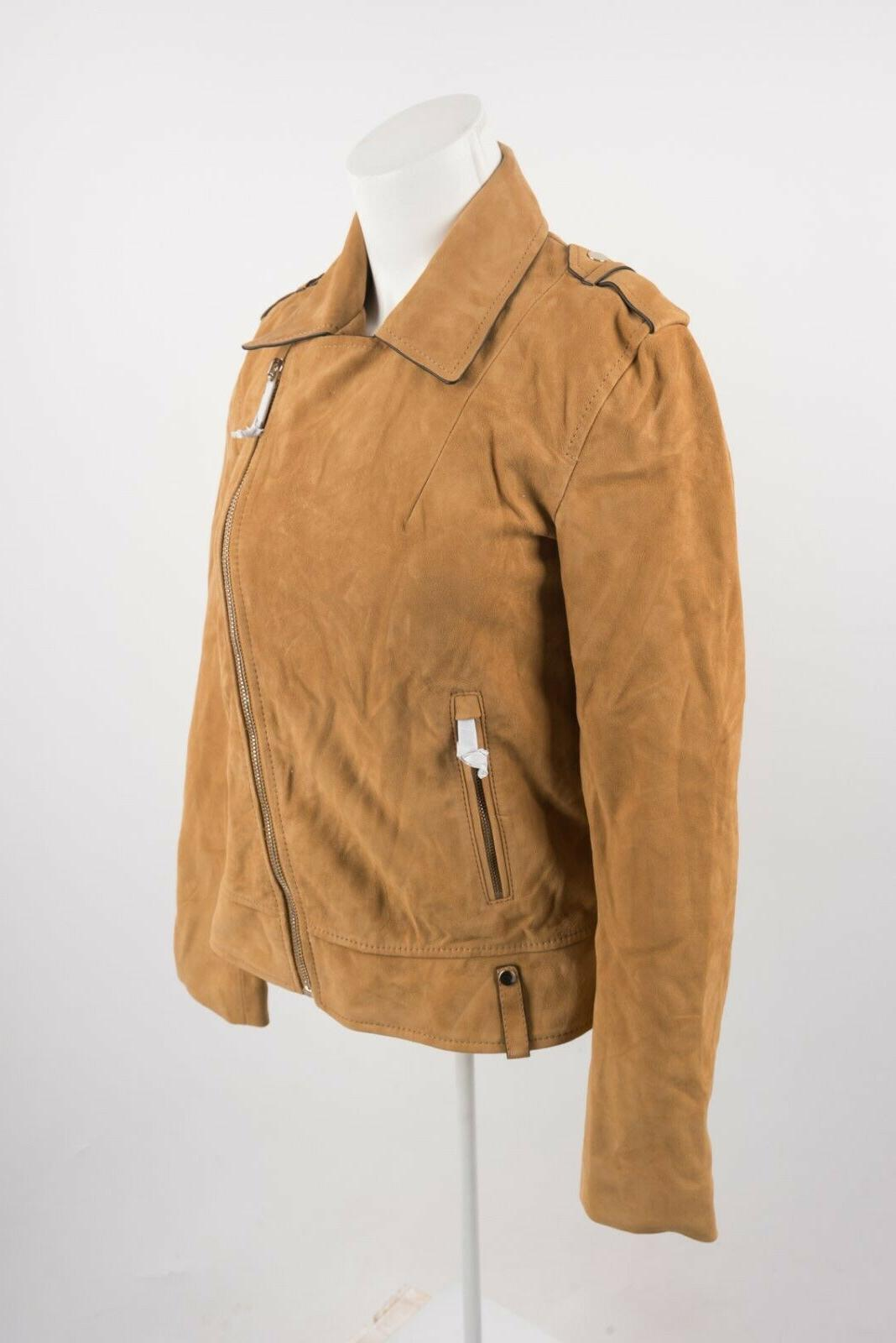 Massimo Dutti Biker Jacket XS X-Small Gold Slim Fit