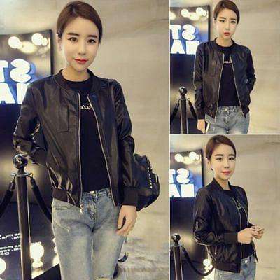 Women Slim Fit Biker Coat Motorcycle Zipper Soft PU Leather