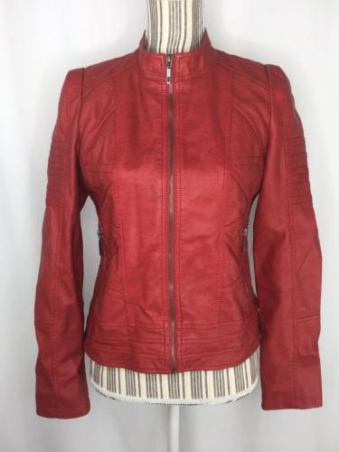 women small moto jacket red faux leather