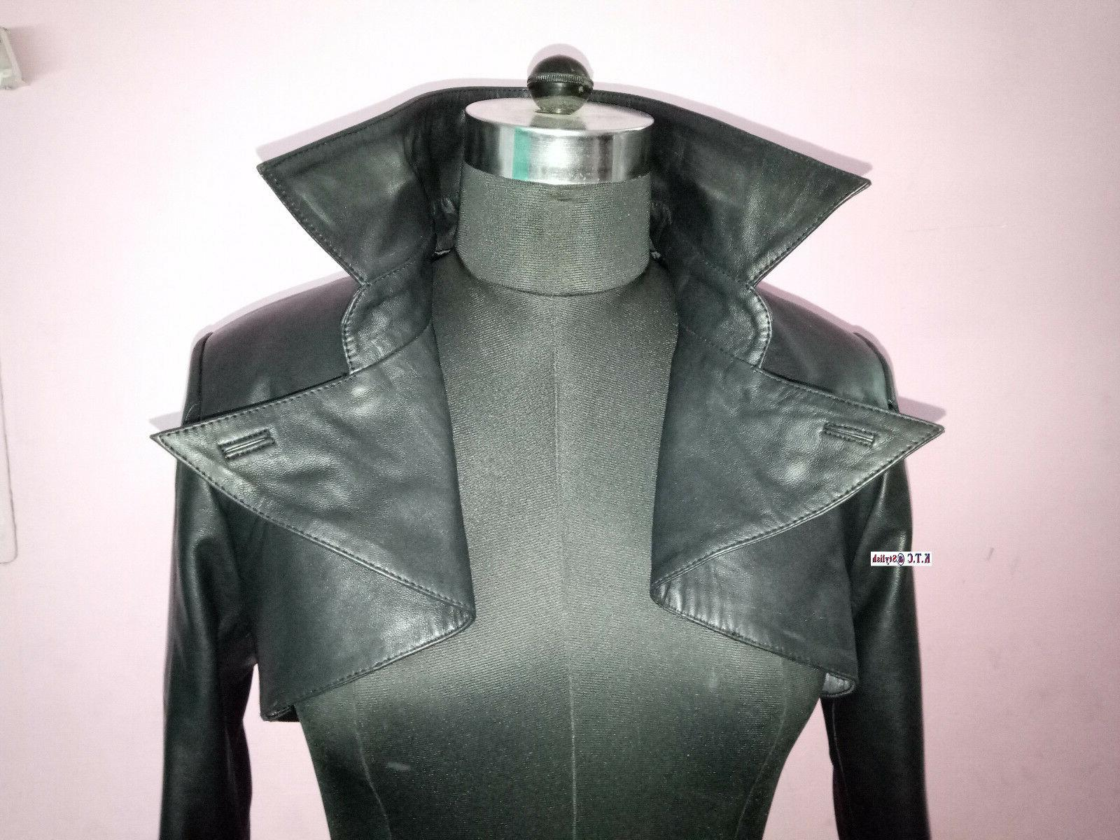 Womens Leather Cropped Moto Fit Biker