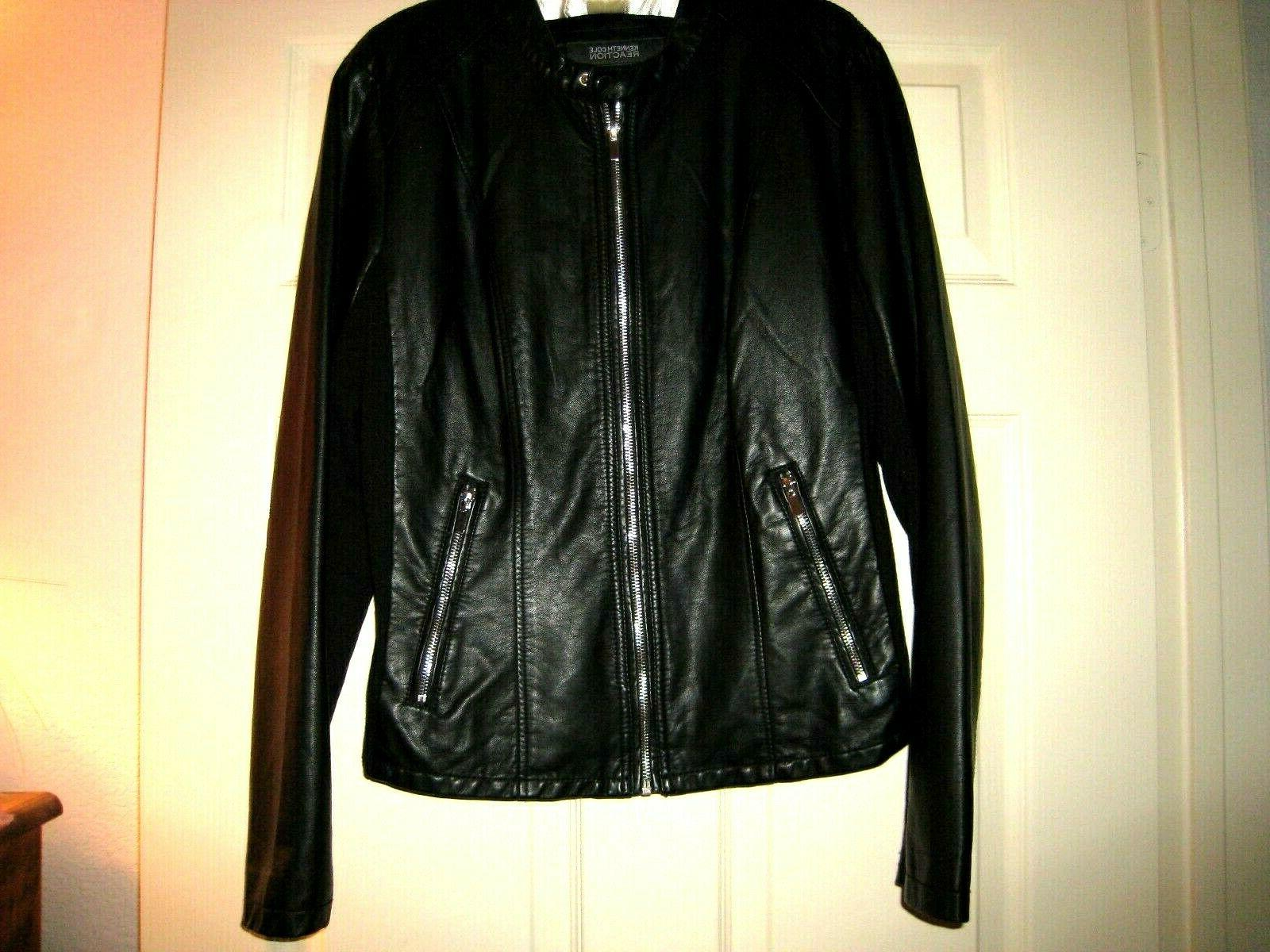 Kenneth Cole Reaction Black Leather Jacket Size XL Zip NEW