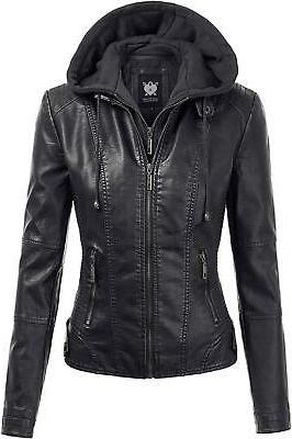 womens hooded faux leather motobiker jacket black