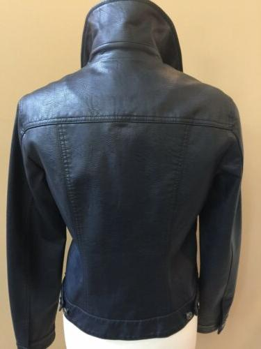 Tommy Women's Navy Leather-Like Bomber $150