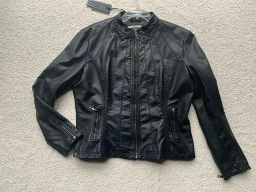 womens xl faux leather zip up moto
