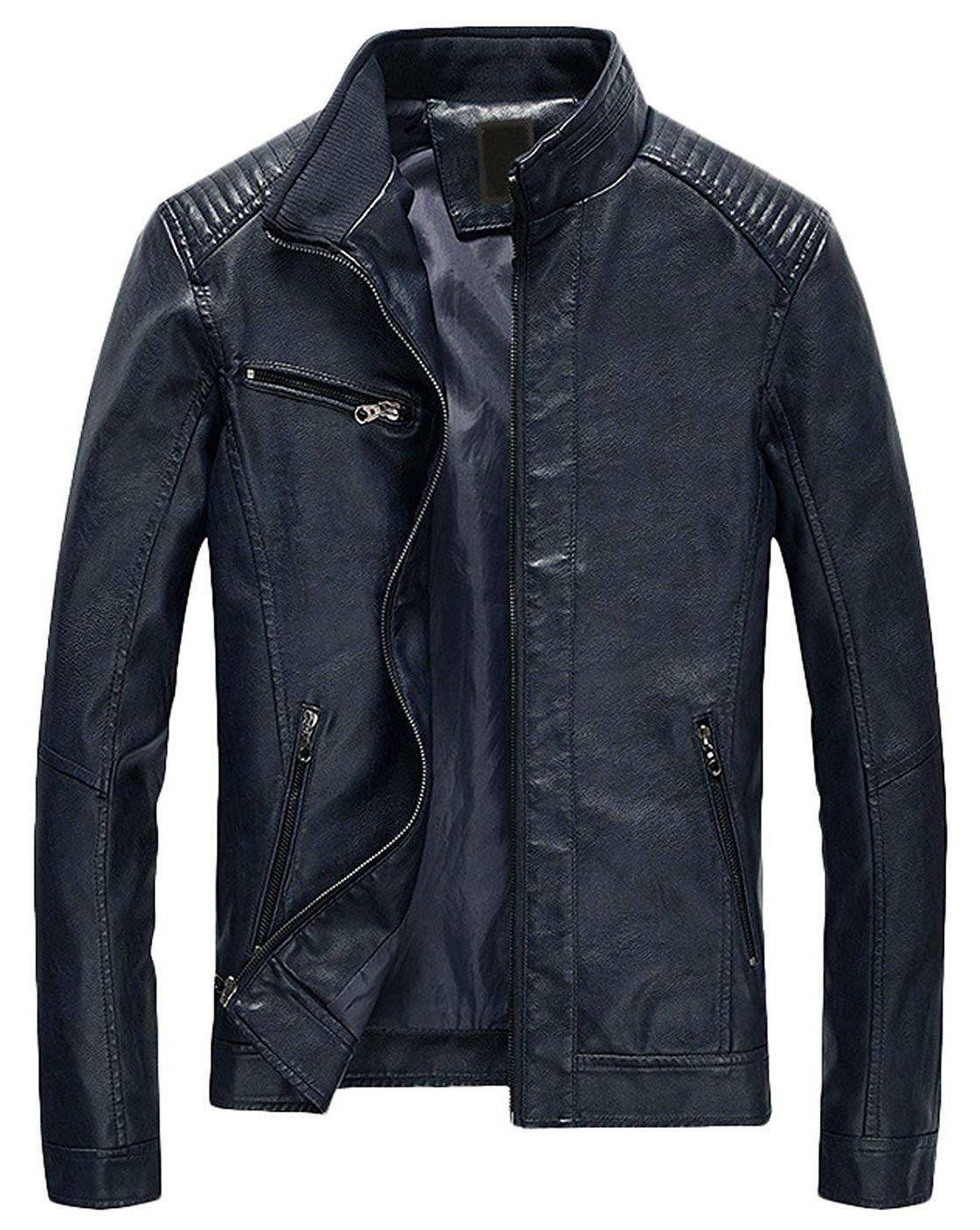Youhan Men's Casual Zip Up Leather