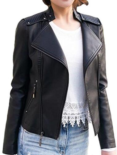 zipper motorcycle biker faux leather