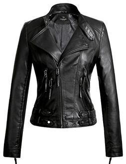 Tanming Women's Leather Coat Jacket