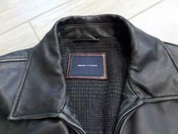 TOMMY HILFIGER leather jacket LARGE black car coat