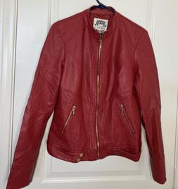 Made By Johnny Leather-like Jacket Red And Gold Womens Size