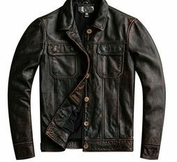 Leather Washed Jacket Men's Coat Outerwear Collared Biker Cl