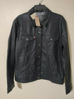 Levi's Black Faux Leather Snap Button Trucker Black Jacket -
