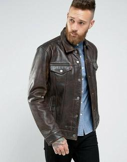 Levi's Buffalo Leather Trucker Jacket Buff Rustic Size: L RR