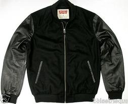 Levi's Leather & Wool Blend Varsity Jacket Black Levi Straus