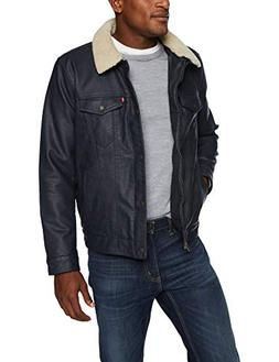 Levi's Men's Buffed Cow Faux Leather Sherpa Trucker, New Nav
