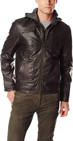 Levi's Men's Faux Leather Hooded Racer Jacket Hooded Fast Sh