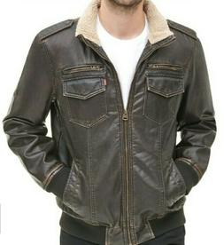 Levi's Men's Faux Leather Jacket Dark Brown XXL Sherpa lined
