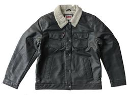 Levi's Men's Faux Leather Levis Sherpa Trucker Jacket Dark B