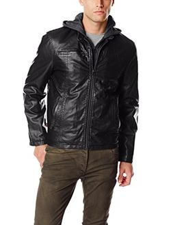 Levi's Men's Faux Leather Racer Hoody with Fleece Lining, Bl