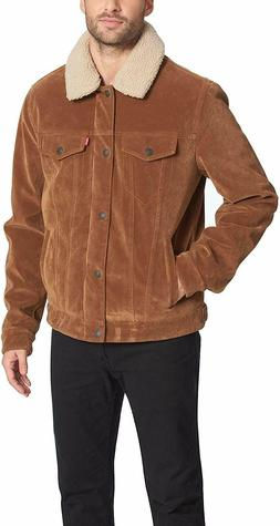 Levi's Men's Faux Leather Sherpa Lined Trucker Jacket - Cogn
