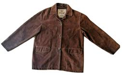 Levi's Men's Suede Genuine Brown Leather Jacket Button Flap