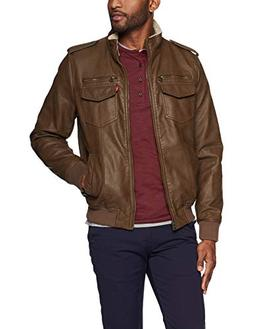 Levi's Men's Vintage Deer Faux Leather Sherpa Lined Aviator