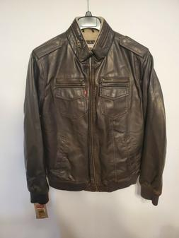 Levi's Mens Brown Leather Jacket Coat