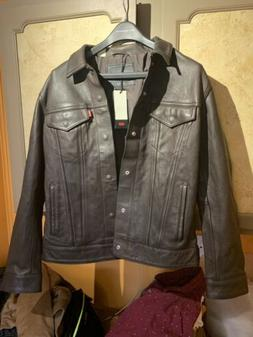 Levi's Premium Men Genuine Leather Trucker Jacket size Mediu