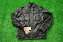 Levi's Sherpa Black Faux Leather Jacket Easy Care Mens Size