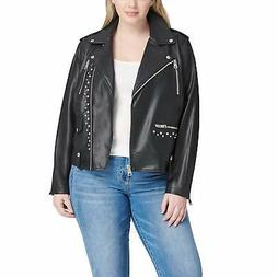 Levi's Women's Plus Size Faux Leather Contemporary Asymmetri