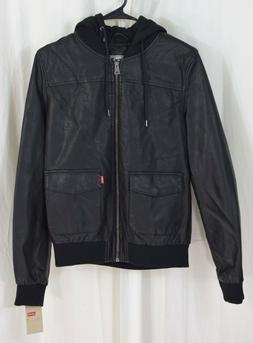 Levi's Womens Two Pocket Faux Leather Hooded Bomber Jacket B