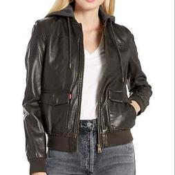 Levi's Brown Two-pocket Faux Leather Hooded Bomber Jacket