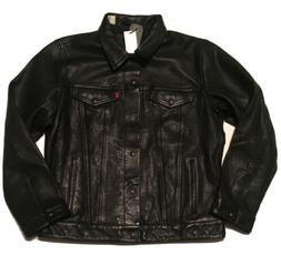 Levi's Genuine Black Bovine Leather Trucker Jacket - XL