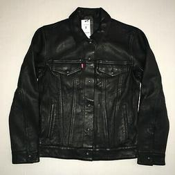 Levi's Genuine Black Bovine Leather Trucker Jacket - Small