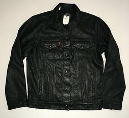 Levi's Genuine Black Bovine Leather Trucker Jacket - Large