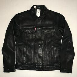 Levi's Genuine Black Bovine Leather Trucker Jacket - Mediu