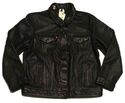 Levi's Genuine Black Bovine Leather Trucker Jacket - XXL