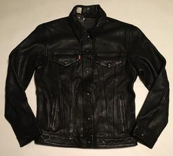 Levi's Genuine Bovine Leather Trucker Jacket - Black