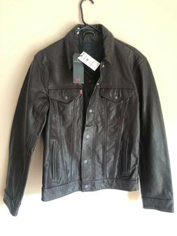 Levi's Genuine  leather trucker jacket Brown  Retail $398