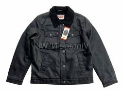 Levis Jeans Red Tab Mens Black Faux Leather Sherpa Lined Win